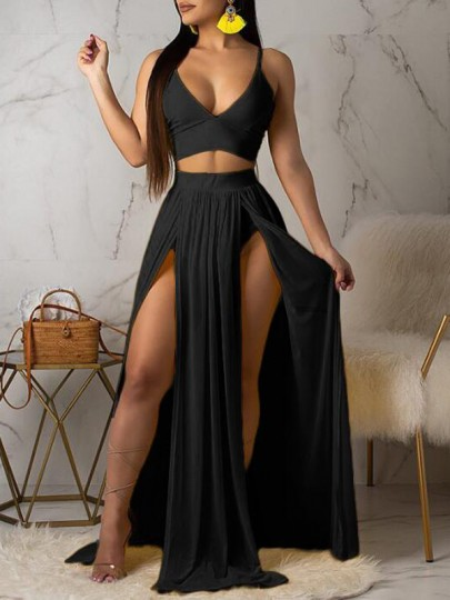 Black Irregular Deep V-neck Double Slit Backless Sheer Bohemian Flowy Long Maxi Dress