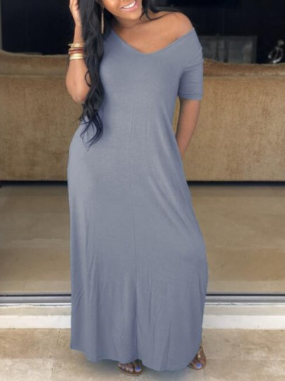 Grey Pockets Off Shoulder Half Sleeve Oversized Casual Maxi Dress