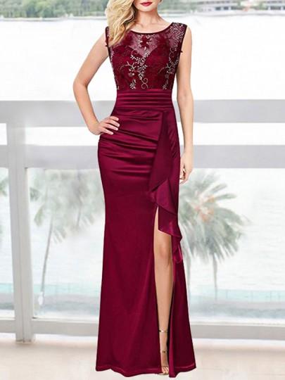 Maxi vestito ricami appliques increspato arruffato banchetto A fessura vino rosso
