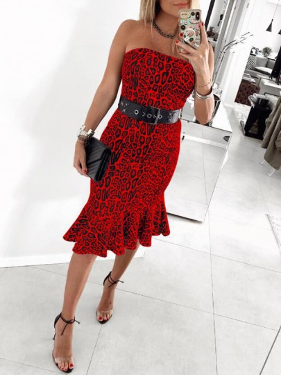 Red Leopard Bandeau Ruffle Off Shoulder Backless Mermaid Elegant Party Midi Dress