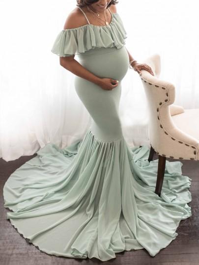 Green Chiffon Cascading Ruffle Condole Belt Pleated Draped Mermaid V-neck Short Sleeve Elegant Maxi Maternity Dress