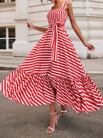Red-White Sling Striped Sashes Ruffle Spaghetti Strap Backless Big Swing Bohemian Vinatge Maxi Dress