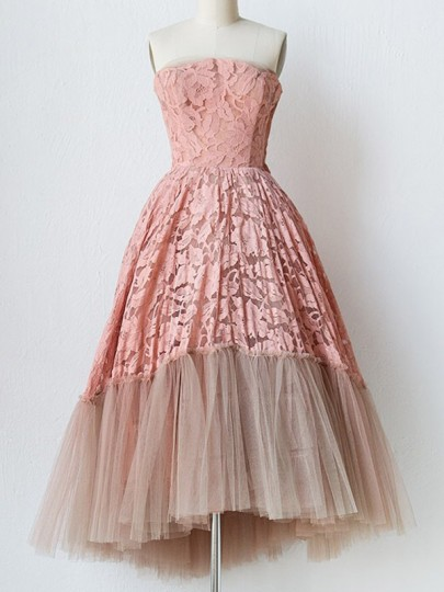 Pink Patchwork Lace Grenadine Bandeau High-Low Elegant Wedding Prom Homecoming Party Tulle Tutu Midi Dress