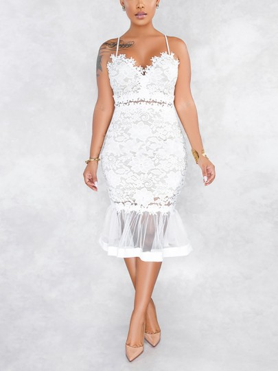 White Floral Lace Cut Out Patchwork Grenadine Peplum V-neck Spaghetti Straps Homecoming Party Midi Dress