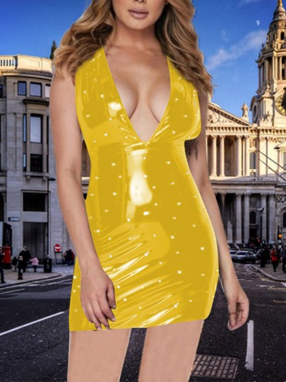 Yellow Pearl Deep V-neck PU Leather Latex Bubble Vinly Patent Party Clubwear Mini Dress