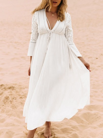 White Patchwork Lace Drawstring V-neck Boho Beach Maxi Summer Dress