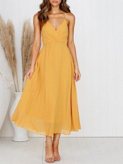 Mustard Yellow Wrap Backless Spaghetti Strap V-neck Party Midi Summer Dress