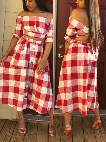 Red-White Plaid Print Pockets Buttons Off Shoulder Short Sleeve Two-Piece Beach Midi Dress