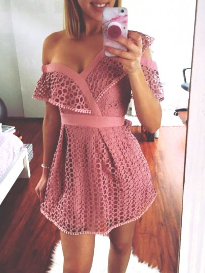 Pink Cut Out Lace Irregular One-shoulder Short Sleeve Party Mini Dress
