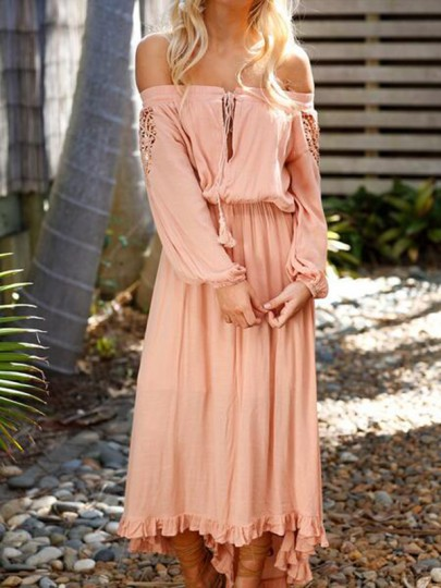 Pink Cut Out Lace Ruffle Draped Drawstring High-low Off Shoulder Long Sleeve Fashion Maxi Dress