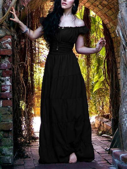 Black Off Shoulder Pleated Elegant Prom Evening Party Maxi Dress