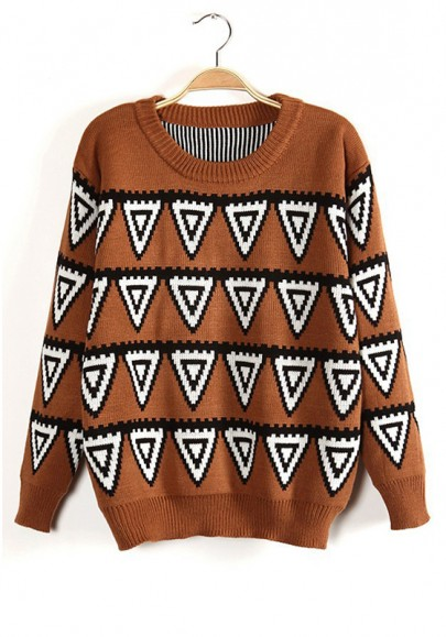 Camel Geometric Round Neck Long Sleeve Wool Sweater
