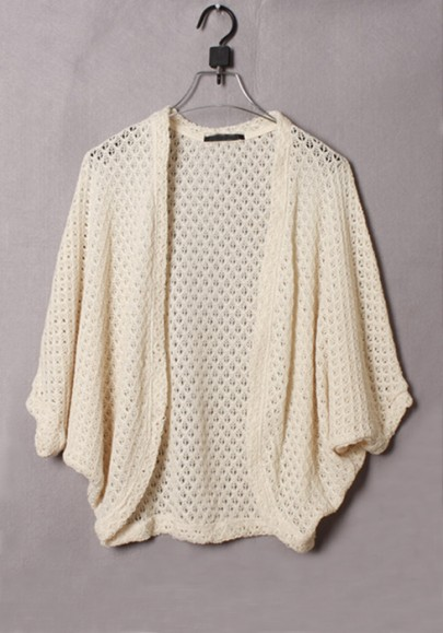 Beige Hollow-out Half Bat Sleeve Loose Knit Cardigan