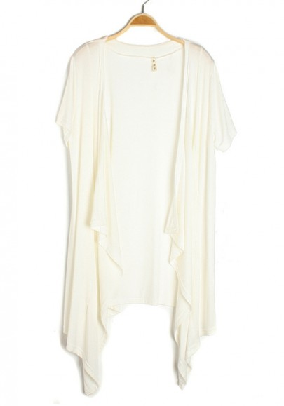 White Irregular Collarless Short Sleeve Cotton Blend Cardigan