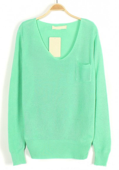Aqua Plain Pockets V-neck Loose Knit Sweater
