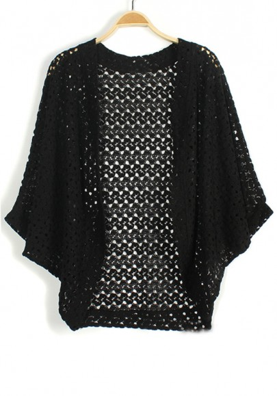 Black Hollow-out Bat Sleeve Loose Knit Cardigan