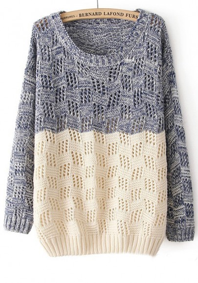 Grey Patchwork Round Neck Loose Wool Blend Sweater