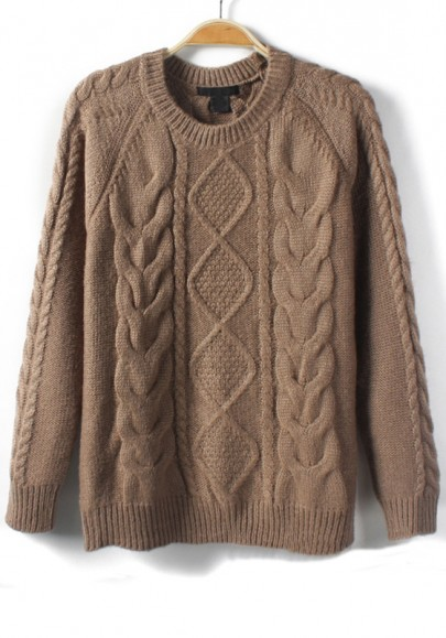 Knitting Sweaters In The Round : Coffee geometric round neck knit sweater sweaters tops