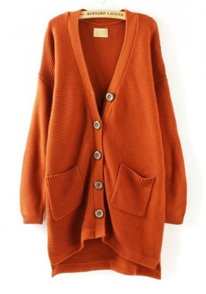 Orange Plain Pockets V-neck Loose Thick Knit Cardigan
