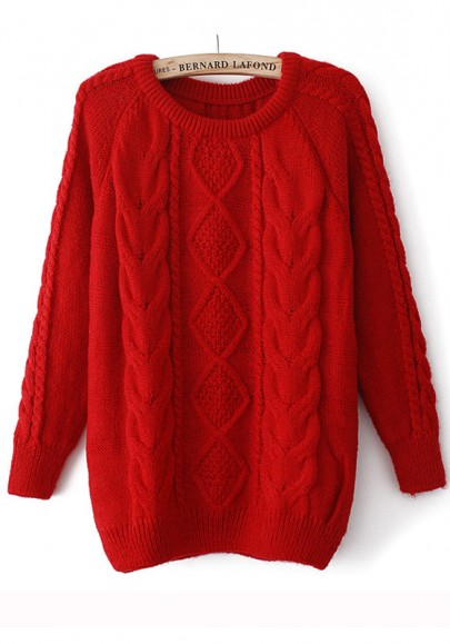 Red Round Neck Long Sleeve Wool Blend Sweater