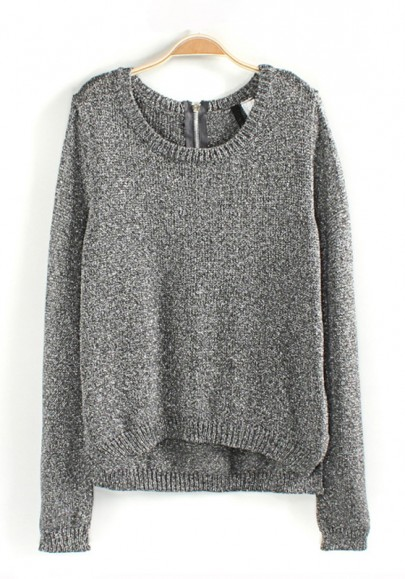 Grey Plain Bright Wire Loose Wool Blend Sweater