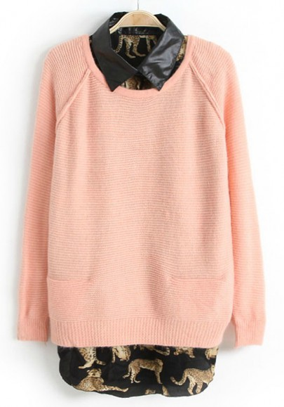 Pink Leopard Print Patchwork 2-in-1 Wool Blend Sweater