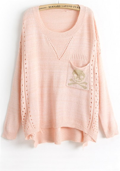 Pink Skull Pockets Hollow-out Thin Knit Sweater