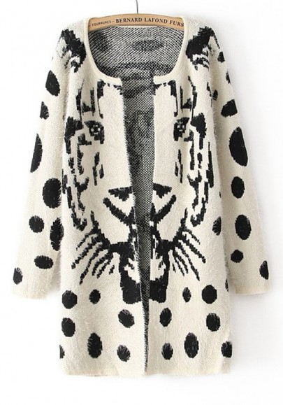 White Tiger Print Wrap Thick Wool Blend Cardigan