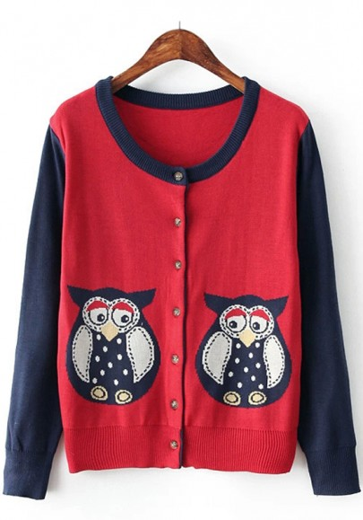 Bright Red Owl Print Loose Cardigan