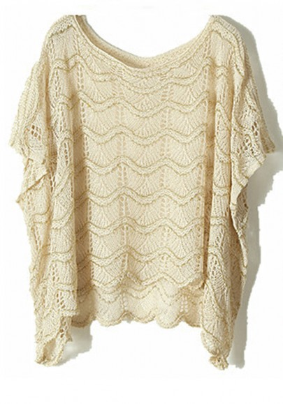 Apricot Striped Bat Short Sleeve Cotton Blend Sweater