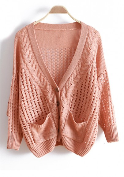 Pink Hollow-out Bat Sleeve Knitted Cotton Cardigan