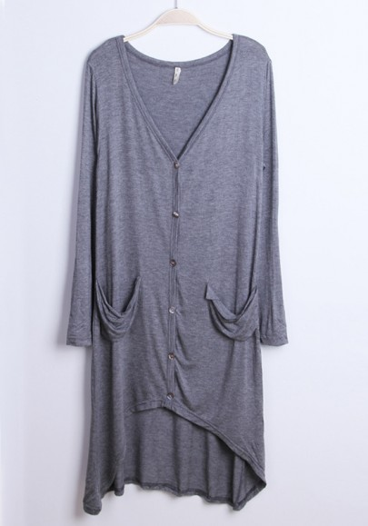 Sliver Grey V-neck Long Sleeve Cotton Blend Sweater