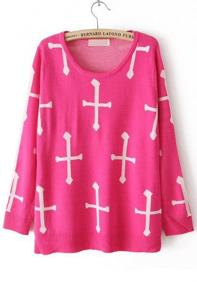 Rose-Carmine Cross Print Round Neck Blend Sweater