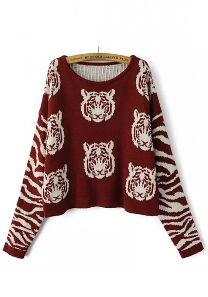 Red Tiger Print Long Sleeve Pullover