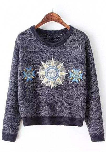 Navy Blue Print Embroidery Pullover