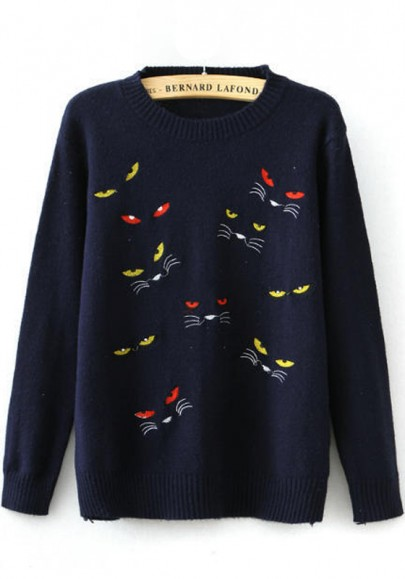 Navy Blue Cat's Eyes Embroidery Pullover