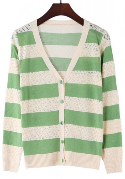 Green Striped V-neck Single Breasted Wrap Blend Cardigan