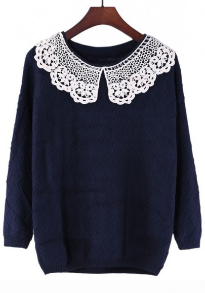 Blue Ruched Lace Peter Pan Collar Acrylic Sweater