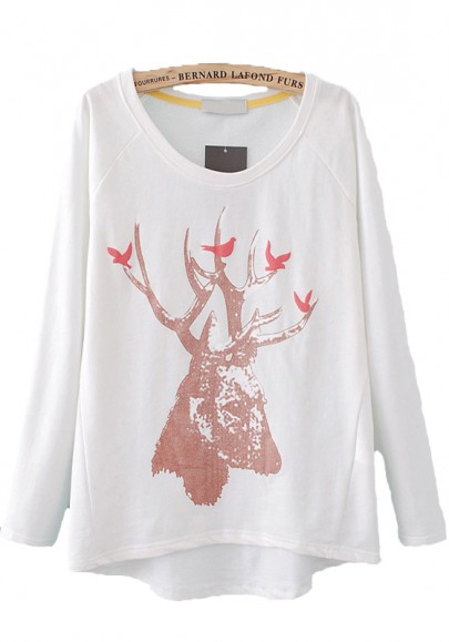 White Deer Birds Print Long Sleeve Loose Cotton Pullover