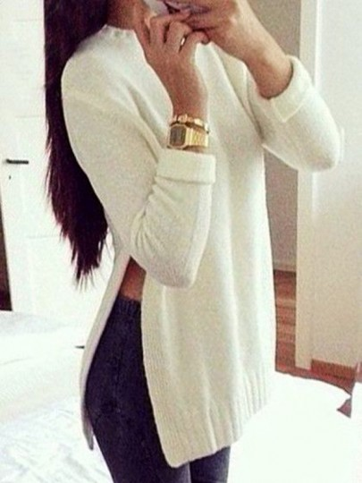 White Plain Split Round Neck Long Sleeve Fashion Pullover Sweater