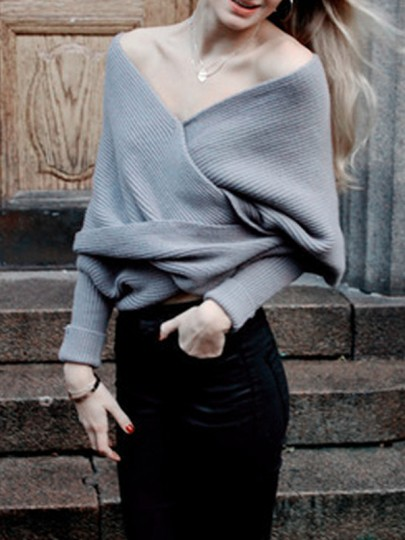 Grey Plain Irregular Boat Neck Fashion Cardigan Sweater