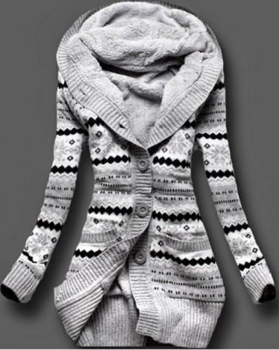 Cardigan florales bolsillos capucha gris