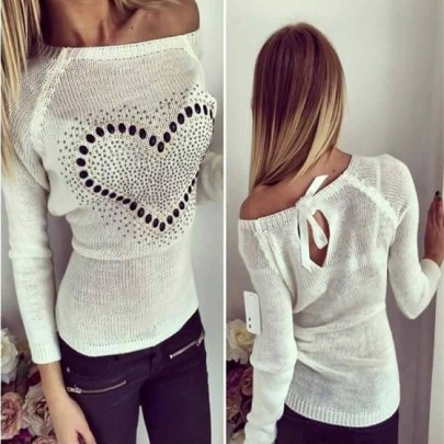 White Love Print Cut Out Bow Tie Back Fashion Pullover Sweater