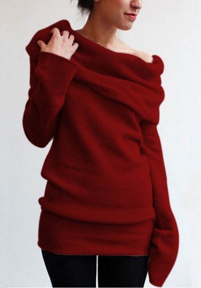 Claret Plain Turndown Collar Long Sleeve Fashion Knit Pullover Sweater