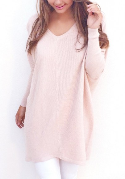 Pull en maille v-cou manches longues ample mince mode décontracté rose femme