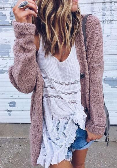 Gilet pull cardigan manches longues mode rose foncé femme