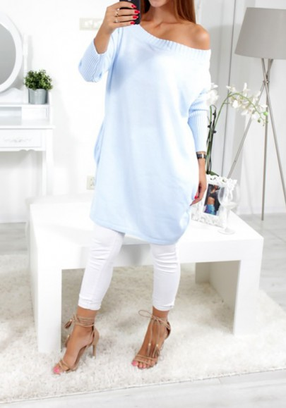 Blue Plain Boat Neck Long Sleeve Pullover Sweater