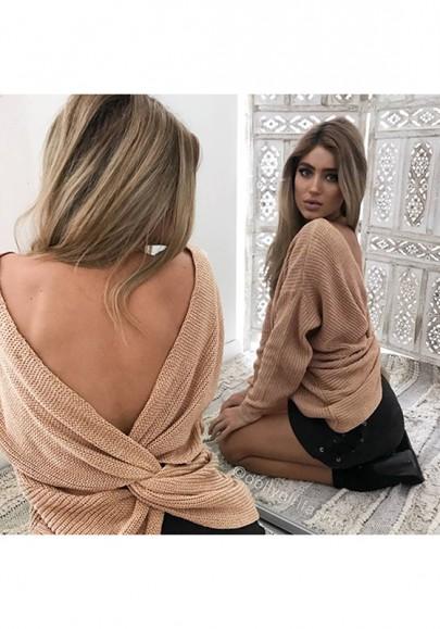 Khaki Rückenfreies V Ausschnitt Langarm Oversize Ausgefallene Strickpullover Damen Mode