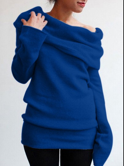 Blue Irregular Off Shoulder Long Sleeve Casual Pullover Sweater
