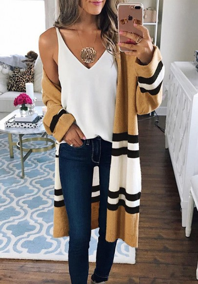 Yellow White Striped Color Block Long Sleeve Fashion Oversize Cardigan Sweater